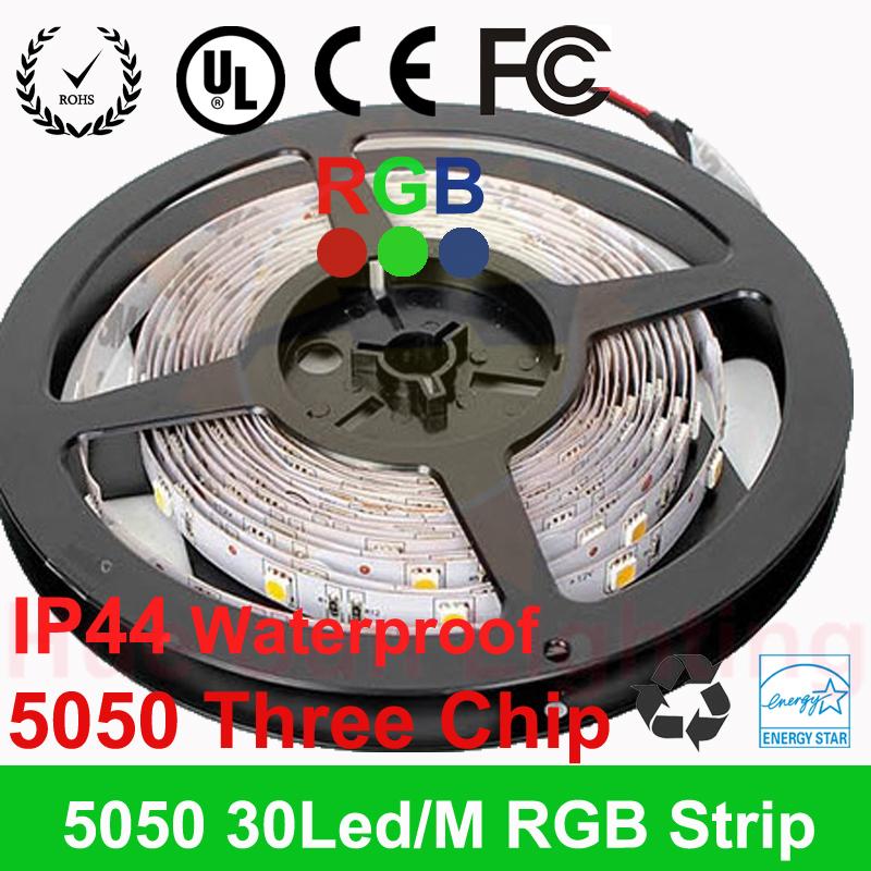 5m 150LED 3chip of 5050 SMD RGB 12V Flexible light 30LEDs/M RGB LED strip LED strip white/blue/green/red/yellow waterproof ip44(China (Mainland))