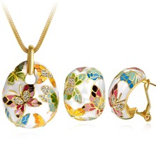 Ninabox Butterfly Yellow Gold Plated Necklace & Earrings Jewelry Set Genuine Austrian Crystal Multicolored Enamel Set TAG05105BD(China (Mainland))