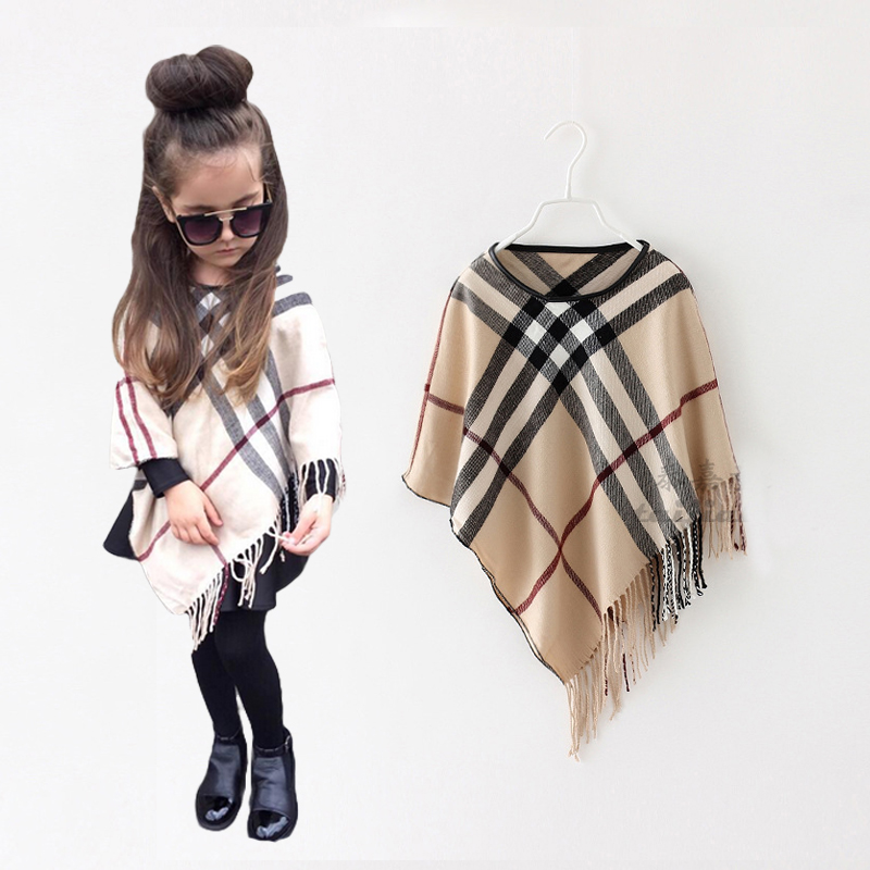 Baby girl clothes More color Winter Fashion Paid Printed scarf kids Warm poncho free size for 1-6 years old retail 1 pcs(China (Mainland))