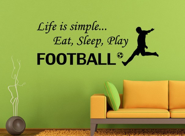 DIY Black Words Decals Life Is Simple Eat Sleep Play Football Wall Stickers Home Decor For Living Room Free Shipping FX1002(China (Mainland))