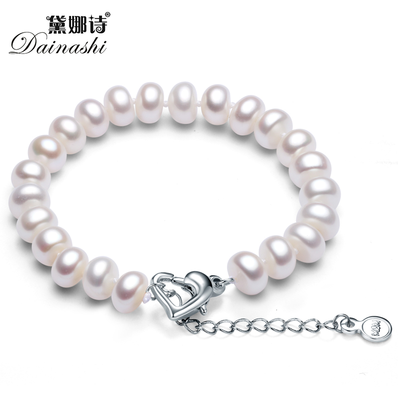 2017 Charm Pearl Heart Shape Clasp Women Bracelet For Lover Or Wife With Top Quality 8-9mm Natural Freshwater Pearl In Gift Box(China (Mainland))