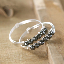 925Silver Rings Natural black Aventurine cut beads Handmade High Quality vintage minimalist Jewelry stackable promise Charm ring(China (Mainland))