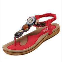 Free Shipping Top quality New Comfort Women Sandals handmade Beaded Clip Toe Flat Shoes Sandals Shoes women Shoes big size 35-45(China (Mainland))