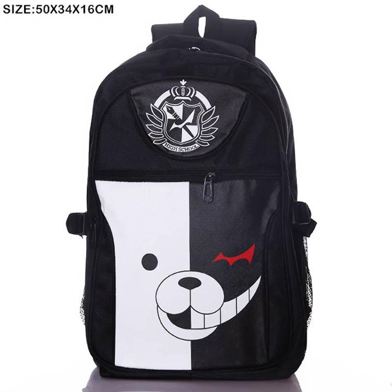 Anime Danganronpa: Monokuma Laptop Black Backpack/Double-Shoulder/School/Travel Bag for Teenagers or Animation Enthusiasts(China (Mainland))