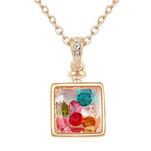 Women High Quality Necklace Chain Gold Plated Crystal Rhinestone Necklace Square Pendants  18306(China (Mainland))