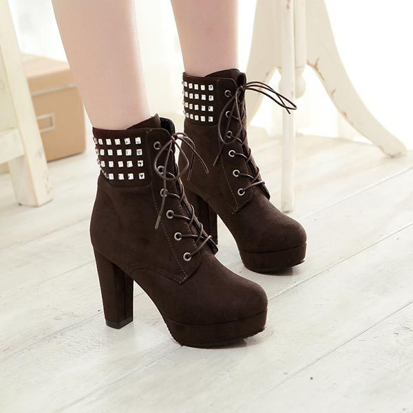 New Autumn Winter Women Boots High Quality Solid Lace-up European Ladies PU Nubuck Leather Fashion Ankle Boots short martin boot<br><br>Aliexpress