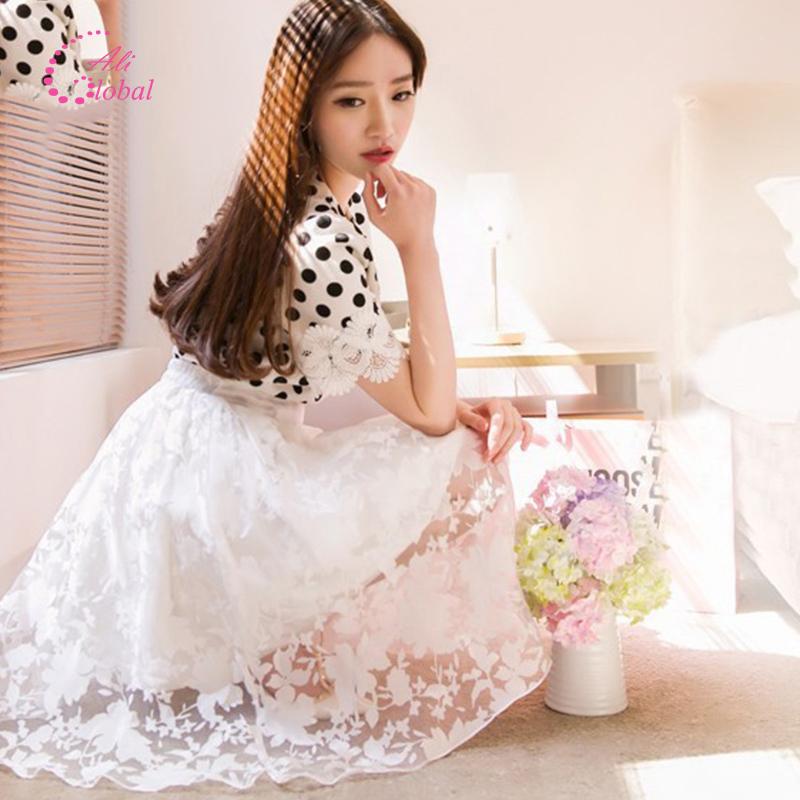 2015 women skirt Lace Midi Elegant Skirts High Waist knee length solid Floral print Pleated Skirt