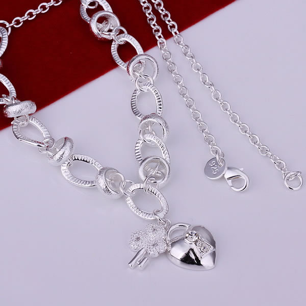 N190 free shipping wholesale 925 silver necklace, 925 silver fashion jewelry Inlaid Heart Lock And Flower Key Necklace wxfj