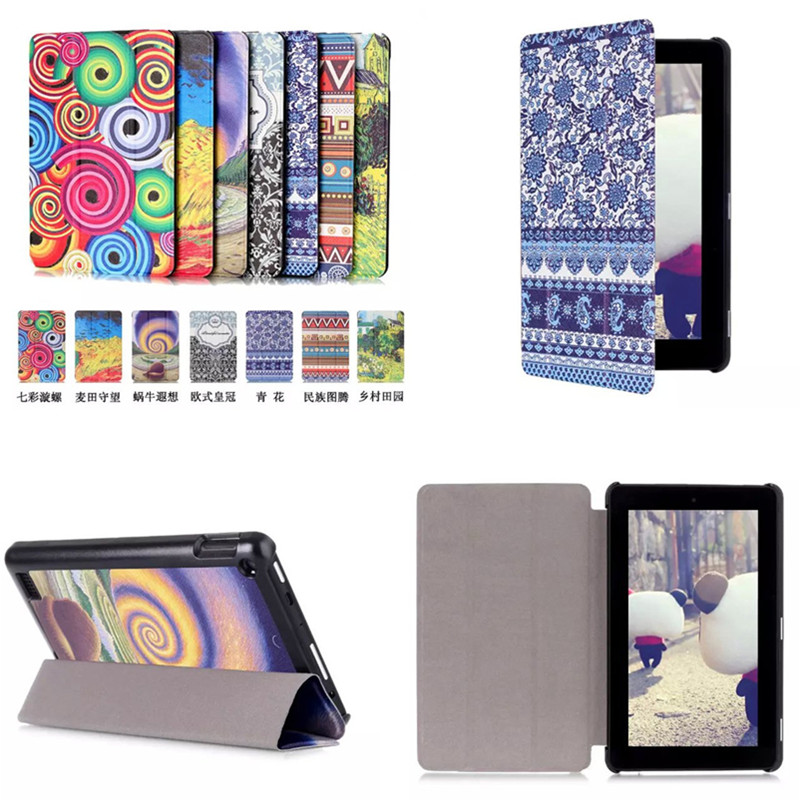 "CY Luxury PU leather Colorful Magnet case Stand cover for Amazon kindle Fire 7 (new 2015 version) 7"" tablet"
