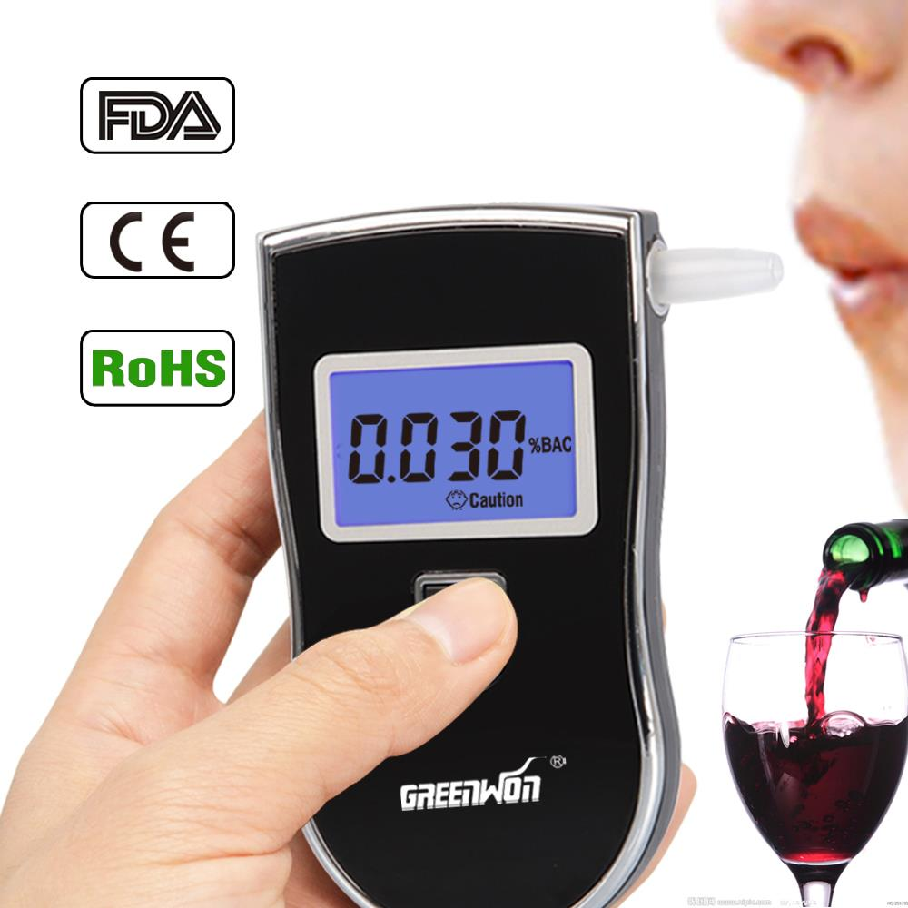 Patent Prefessional Police Digital Breath Alcohol Tester Breathalyzer & 10 Mouthpieces with russian User manual(China (Mainland))