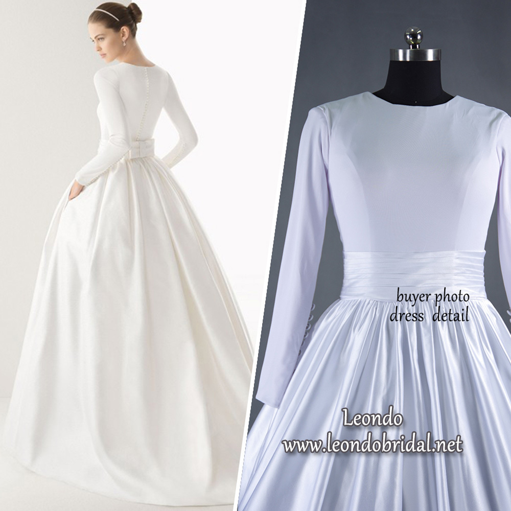 Wedding bear picture more detailed picture about vintage for Boat neck long sleeve wedding dress