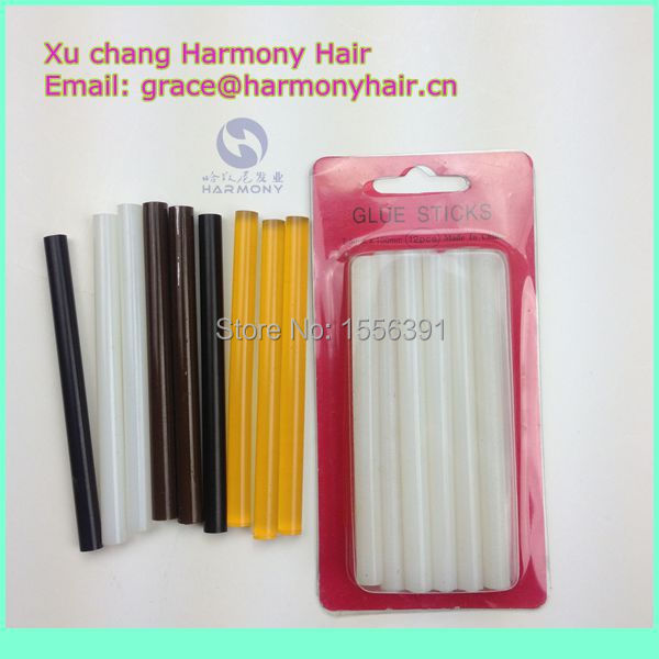 FREE SHIPPING 1pack/lot 12pcs 7.5mmx100mm small keratin glue stick/glue stick for glue gun/hot melt glue stick for hair(China (Mainland))