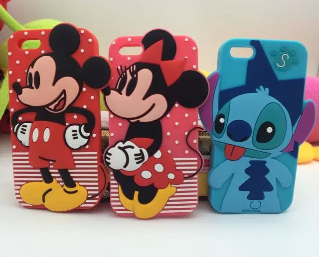 "1PCS Cute 3D Cartoon Mickey Minnie Mouse Stitch Soft Silicone Case For iPhone 5/5S/6 4.7""/6 plus 5.5"" Rubber Cover Phone cases(China (Mainland))"