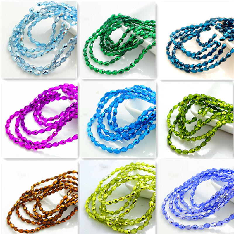 wholesale 100pcs Faceted Teardrop Glass Crystal Loose Spacer Beads DIY 5X3mm(China (Mainland))