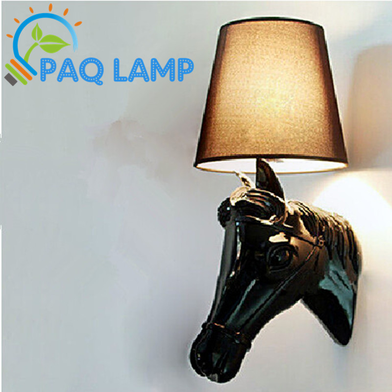 Wall Sconces Equestrian: Europe-lighting-wall-lamp-Resin-gypsum-horse-light-hotel