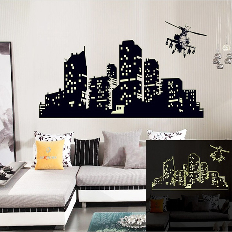 large fluorescent luminous vinyl wall stickers city of the seagull flying out of the city wall sticker vinyl wall