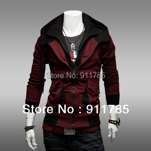 2016 new fashionable contrast color Hoodies sweatshirts men red casual Slim hooded jackets men,freeshipping,M-XXL, - LANG MEI'S store