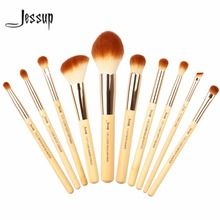 Jessup 10pcs Beauty Bamboo Professional Makeup Brushes Set Make up Brush Tools kit Foundation Powder Definer Shader Liner(China (Mainland))