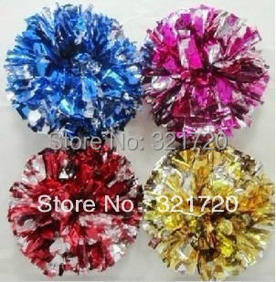 Cheerleader pompoms (10 pieces/lot) Cheerleading pompoms supplies PVC pompons Color and handle can choose Free shipping(China (Mainland))