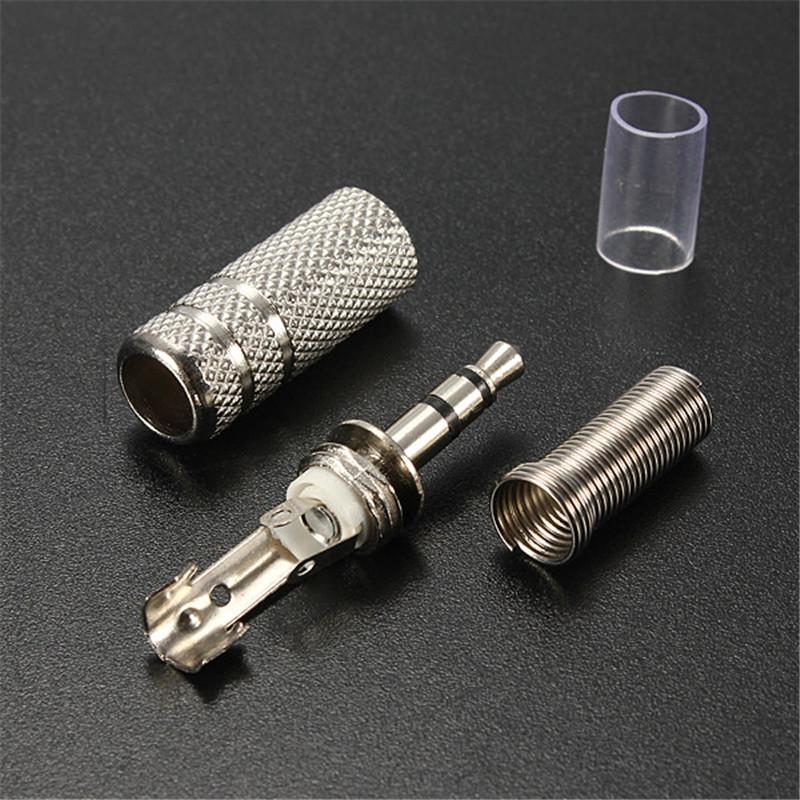 3.5mm 3 pole Nickel replacement Stereo jack plug for Earphones repair