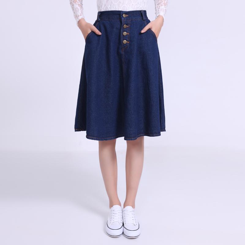 Summeru0026Autumn 2015 maxi skirts for women jeans button pleated denim skirt women jean skirt ...