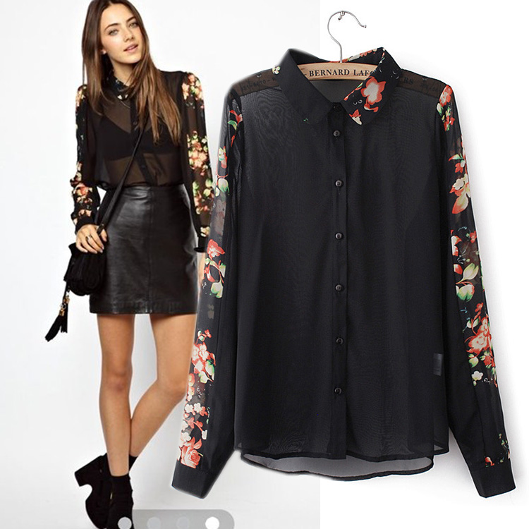 2016 spring and autumn new women long sleeves vintage print chiffon shirt, female fashion casual sexy transparant blouse tops(China (Mainland))