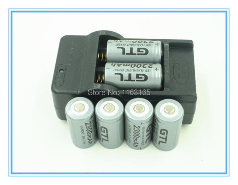 6x 2300mAh 16340 CR123A Rechargeable Li-ion Battery Gray For LED Flashlight + Travel Charger(China (Mainland))