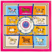 100cm*100cm MTscarf 100% Twill Silk Euro Brand French design Ten Horse Pattern Printed Women Gift Silk Scarves 4108(China (Mainland))