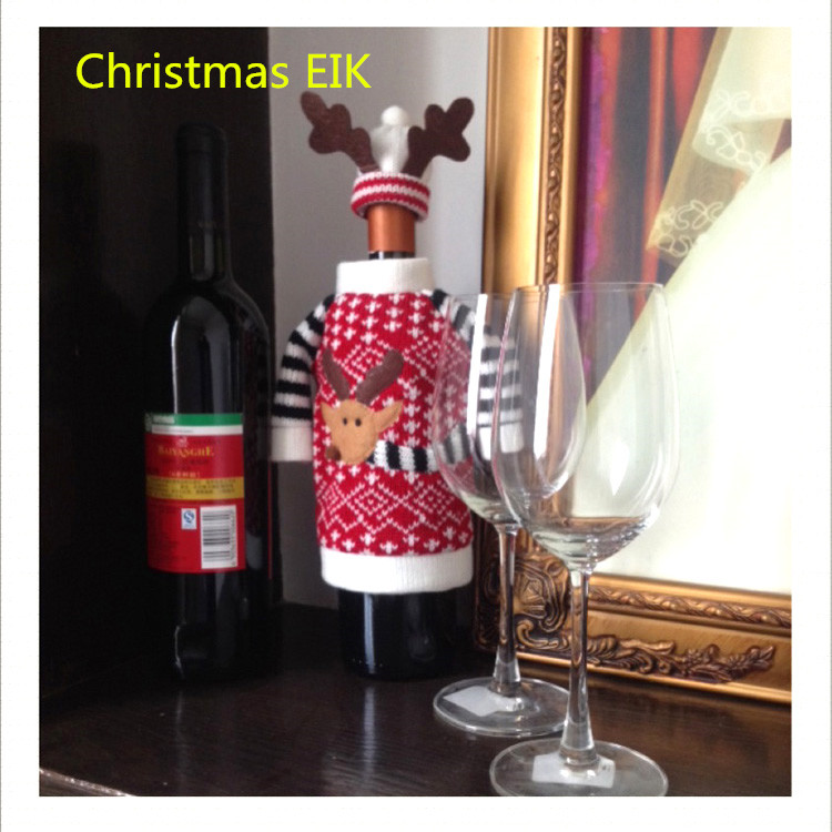 Red Wine Bottle Cover Bags Christmas Dinner Table Decoration Home Party Decors Santa Claus Christmas Supplier EIK Gift(China (Mainland))