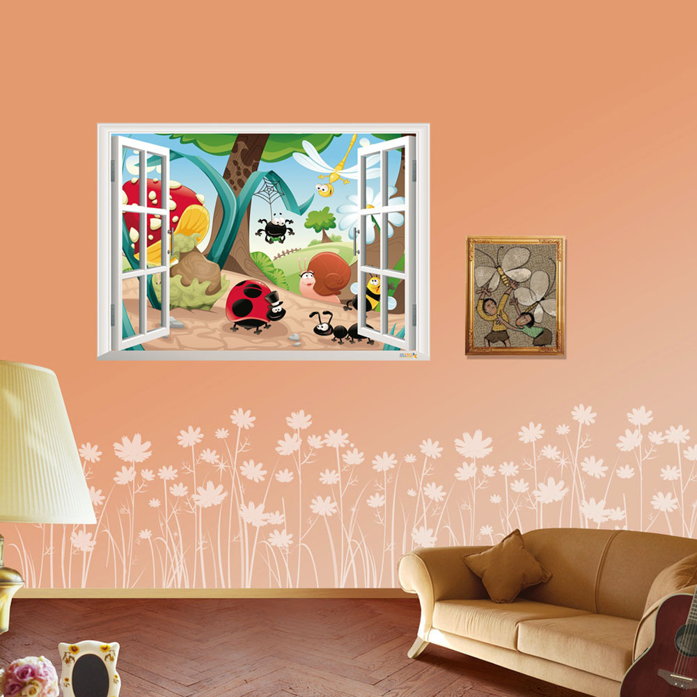 2016 3d cute cartoon flower zoo wall stickers diy decal for Room decor 3d