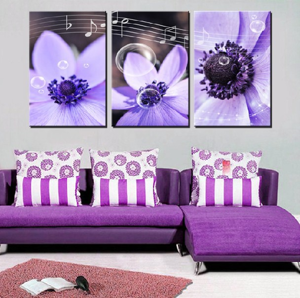 3 Panel Hot Sell Modern Wall Painting Home Decorative Art Picture Paint on Canvas Prints Orchid, bubbles, and music(China (Mainland))