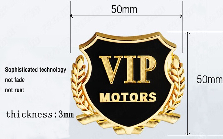 One pair fashion car styling Stickers For chevrolet cruze volkswagen vw ford opel VIP Auto emblem Sticker case for 3M adhesive(China (Mainland))