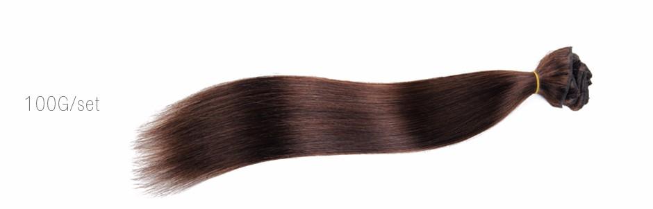 2# Clip in Human Hair Extension 7-10pcs 70g-200g Darkest Brown Human Hair Extensions 7A Unprocessed Virgin human Hair Clip ins