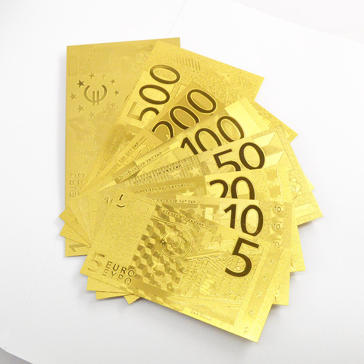 Free Shipping 24K Gold Banknote Euro metal Set European 8 Models 5 10 20 50 100 200 500 1000 Gold Foil Banknote Wholesale