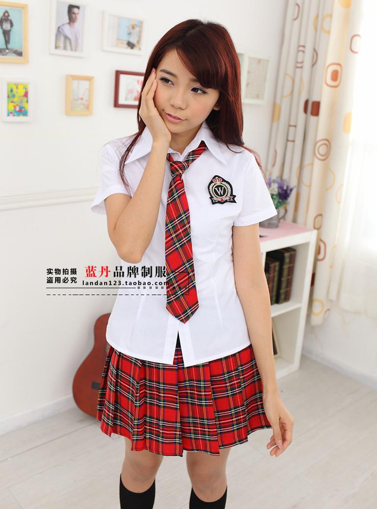 students in school uniform British school uniform shirt Plaid uniform skirt Korean student uniform group purchase(China (Mainland))