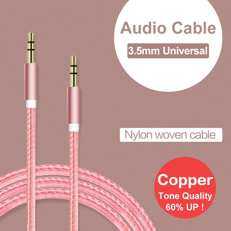 Aux Cable For Car Audio Usb Cabel Adapter 3.5mm Mini Jack 1m Nylon Extension For Iphone 6s 6 5s/Huawei P9 P8 Lite/Meizu M3 Note(China (Mainland))