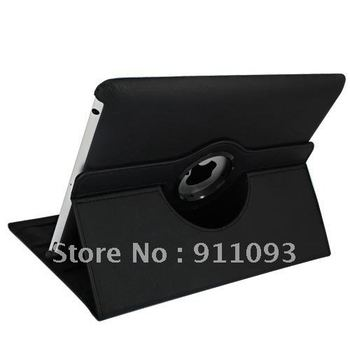 Free Shipping 5 Color(Black Green Blue Red Brown) 360-degree Rotating Leather Case Cover For 9.7 Inch iPad 3 Tablets