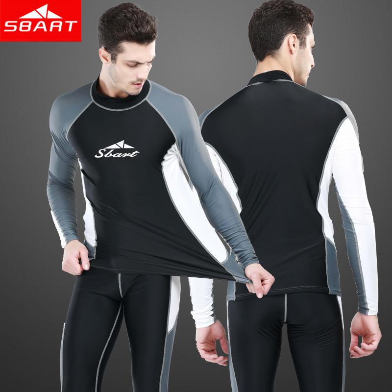 Sbart Mens Swim Tops Long Sleeve Swimsuit Rashguard Swim