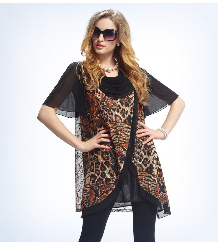 Leopard Animal Print Summer Style Swing Dresses Women Plus size Vestidos 2015 smock dress 3XL Clothing Quality Dresses(China (Mainland))