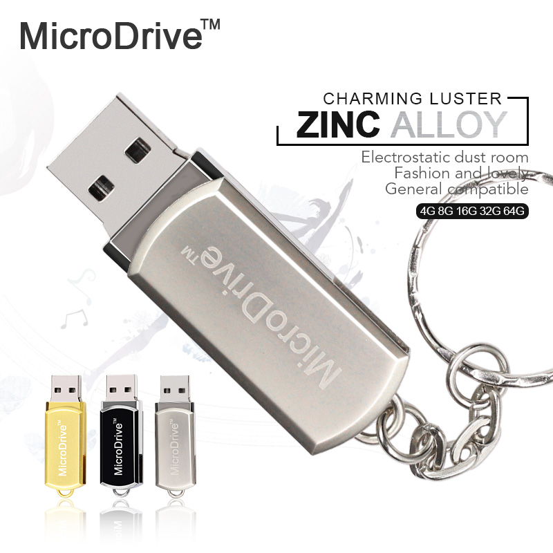 Micro Drive Stainless Rotated usb flash drive 64gb 32GB 8GB 16GB 4GB usb pen Memory Sticks Thumb Drive with key chain(China (Mainland))