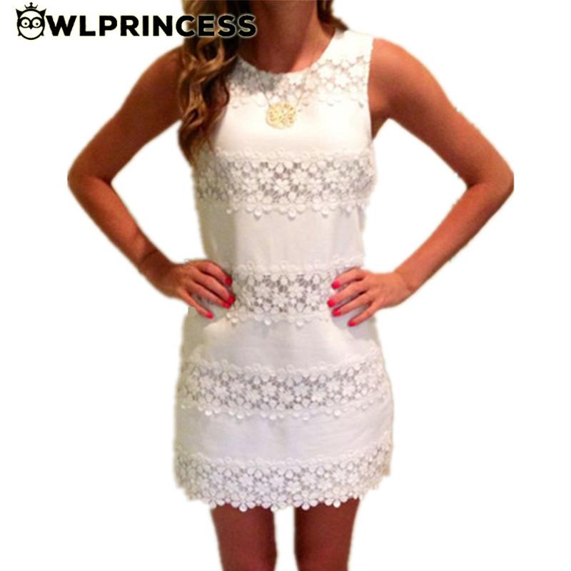 Owlprincess Summer Lace Dress 2016 Sexy Women Casual Sleeveless Beach Short Dress Slim Solid White Sexy Mini Dress Vestidos(China (Mainland))