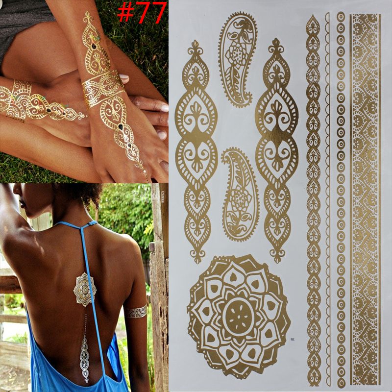 Hot Temporary tattoo Gold tattoo Flash Tattoos Leaf Tatoos Metallic Sex Products jewelry Henna Tatouage Body