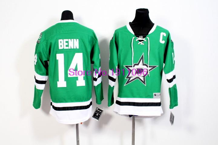 2016 New Dallas Stars Kids Jerseys #14 Jamie Benn Green Ice Hockey Jersey Embroidery Logos,All Stitched Free hipping<br><br>Aliexpress