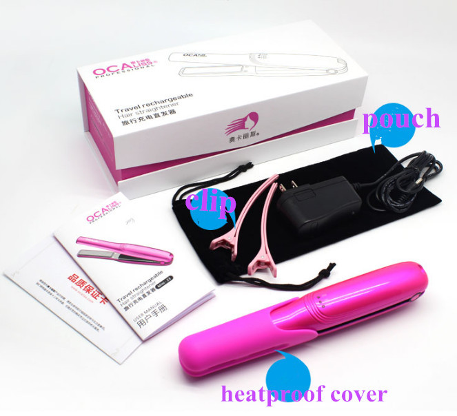 Rechargeable Hair Flat Iron Pink Color Hair Straightener
