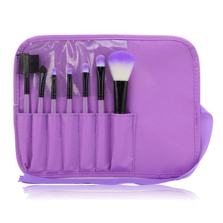 7pcs/Set Purple Foundation Eyeshadow Powder Eyebrow Eyeliner Makeup Brushes Make Brush Set Professional Cosmetic Tools Kit - Rosa Queen Beauty Shop store