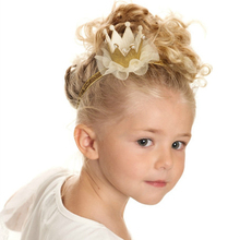 Retail 5colors Newborn Mini Felt Crown+Glitter Elastic Headband For Girls Hair Accessories Handmade Luxe Baby Headbands
