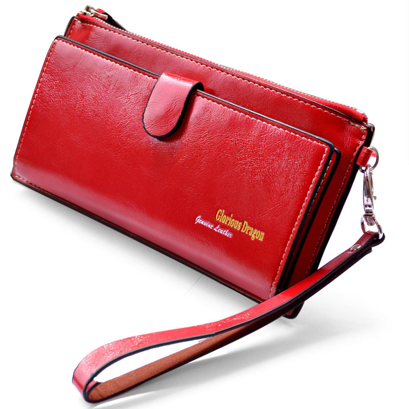 Ladies Women Wallets Genuine Leather Purses Long Wallet Women Elegant Female Red Women's Wallets Woman Leather Wallet Purse(China (Mainland))