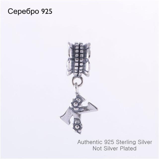 Совместимость с пандоры стиль шарм браслеты мода оригинал 925 алфавит к слайд мотаться бусины ювелирных изделий