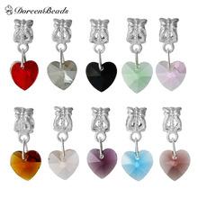 DoreenBeads 2016 Women Mixed Heart Imitation Crystal Glass Faceted Slide Pendants Fit European Charm 24x10mm Hole: 5.5mm, 10 Pcs(China (Mainland))