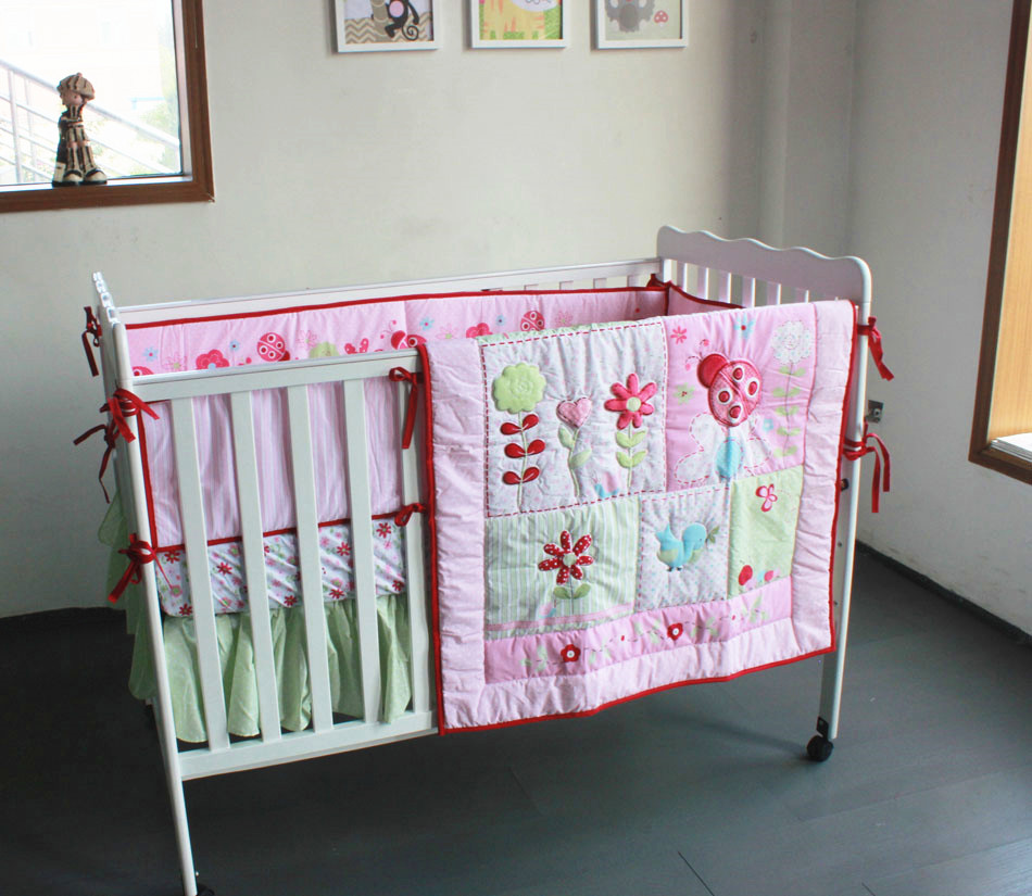 Discount! 4pcs embroidery Crib Cot Baby Bedding Set Newborn Baby Cot Bed Set ,include(bumper+duvet+bed cover+bed skirt)<br><br>Aliexpress